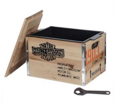 Harley-Davidson 1903 Vintage Wooden Crate Cooler 13.75 x 10 x 10.25 in HDL-18531 - Wisconsin Harley-Davidson