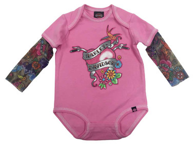 Harley-Davidson Baby Girls' Glitter Infant Creeper, Mesh Tattoo Sleeves 3010611 - Wisconsin Harley-Davidson