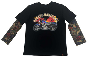 Harley-Davidson Little Boys' Motorcycle Tee w/ Mesh Tattoo Sleeves 1070641 - Wisconsin Harley-Davidson