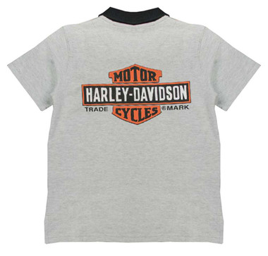 Harley-Davidson Little Boys' Bar & Shield Short Sleeve Pique Polo, Gray 1081637 - Wisconsin Harley-Davidson