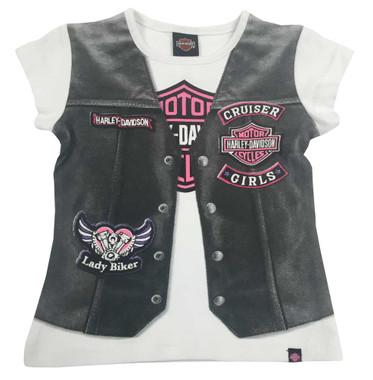 Harley-Davidson Little Girls' Printed Motorcycle Vest Short Sleeve Tee 1020627 - Wisconsin Harley-Davidson