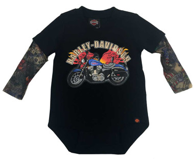 Harley-Davidson Baby Boys' Motorcycle Newborn Creeper w/ Tattoo Sleeves 3050641 - Wisconsin Harley-Davidson