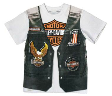Harley-Davidson Little Boys' Printed-On Motorcycle Vest Short Sleeve Tee 1072625 - Wisconsin Harley-Davidson