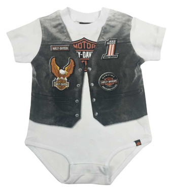Harley-Davidson Baby Boys' Printed-On Motorcycle Vest Infant Creeper 3060629 - Wisconsin Harley-Davidson