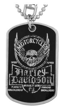 Harley-Davidson Dog Tag, Winged Skull Distressed Chain/Keychain, Silver 8002763 - Wisconsin Harley-Davidson