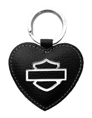 Harley-Davidson Women's Bar & Shield Heart Medallion Key Fob, ZWL5898-BLACK - Wisconsin Harley-Davidson