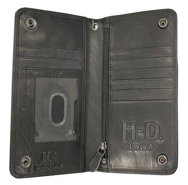 Harley-Davidson Men's Bar & Shield BiFold Wallet, Embossed, Black CR2309L-Black - Wisconsin Harley-Davidson
