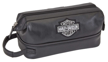 Harley-Davidson Men's Black Leather Toiletry Kit Bag 99609 - Wisconsin Harley-Davidson