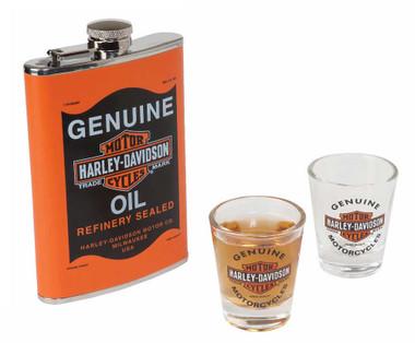 Harley-Davidson Genuine Oil Can Hip Flask & Shot Glass Gift Set, HDL-18557 - Wisconsin Harley-Davidson