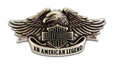Harley-Davidson Mens Belt Buckle Brushed Chrome American Legend HDMBU10082 - Wisconsin Harley-Davidson