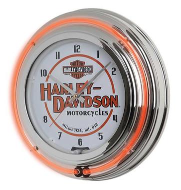 Harley-Davidson Motorcycle Double Neon Bar & Shield Clock, Orange Neon HDL-16623 - Wisconsin Harley-Davidson
