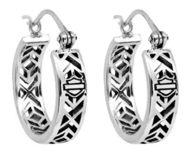 Harley-Davidson Women's Earrings, Aztec Bar & Shield Hoops, Silver HDE0371 - Wisconsin Harley-Davidson