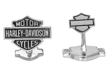 Harley-Davidson Men's Sterling Silver Bar & Shield Cufflinks HDZ0041 - Wisconsin Harley-Davidson