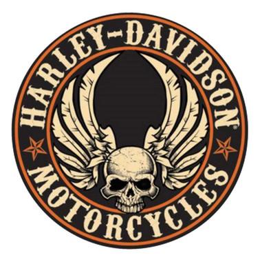 Harley-Davidson Embossed Flying Skull Button Round Tin Sign, 14 inch 2011281 - Wisconsin Harley-Davidson