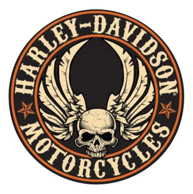 Harley-Davidson Embossed Flying Skull Button Round Tin Sign, 14 inch 2011281 - Wisconsin Harley-Davidson