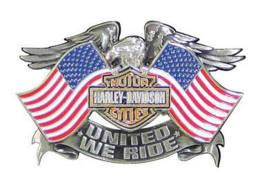 Harley-Davidson Men's United We Ride Pin, Eagle American Flags Graphic P125844 - Wisconsin Harley-Davidson