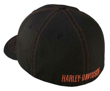 Harley-Davidson Men's Contrast Stitch Logo Stretch Cap Hat, Black. 99419-16VM - Wisconsin Harley-Davidson