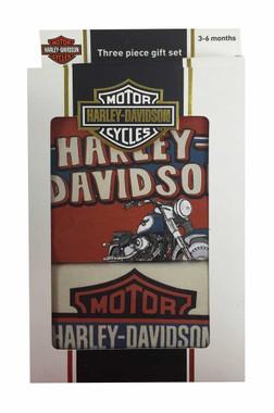 Harley-Davidson Baby Boys' Creeper Gift Box Set, Retro Motorcycle Orange 2551559 - Wisconsin Harley-Davidson