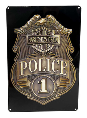 Harley-Davidson Police Shield Tin Metal Sign 17 x 12 Inches 2010161 - Wisconsin Harley-Davidson
