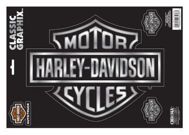 Harley-Davidson Embossed Bar & Shield Logo Chrome Decals - 9 x 13 in. CG3276 - Wisconsin Harley-Davidson