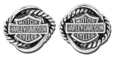 Harley-Davidson Women's Woven Circle Bar & Shield Post Earrings HDE0308 - Wisconsin Harley-Davidson