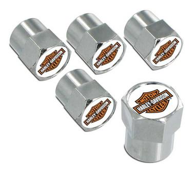 Harley-Davidson Orange Bar & Shield Valve Stem Cap Covers Chrome - 5 Pack HDVC25 - Wisconsin Harley-Davidson