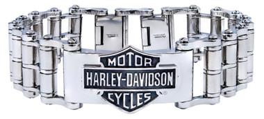 Harley-Davidson Men's Bar & Shield Emblem Bike Chain Steel Bracelet HSB0146 - Wisconsin Harley-Davidson