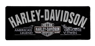 Harley-Davidson V-Twin Bar & Shield Tin Sign 18 x 7-1/8 Black 2010681 - Wisconsin Harley-Davidson