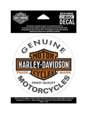 Harley-Davidson Long Bar & Shield Decal, Orange Logo Small Size Sticker DC312642 - Wisconsin Harley-Davidson
