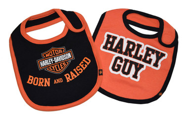 Harley-Davidson Baby Boys' Bibs, Bar & Shield 2 Pack, Black/Orange 7059507 - Wisconsin Harley-Davidson