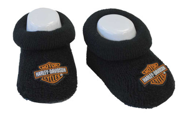 Harley-Davidson Baby Boys' Boxed Stretch Terry Booties, Black S9LBL20HD (0/3M) - Wisconsin Harley-Davidson