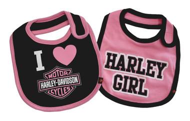 Harley-Davidson Baby Girls' Bibs, Bar & Shield 2 Pack Set, Black/Pink 7009505 - Wisconsin Harley-Davidson