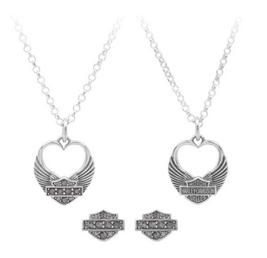 Harley-Davidson Womens Winged Heart Necklace & Earrings Gift Set, Silver HDS0004 - Wisconsin Harley-Davidson
