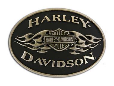 Harley-Davidson Mens Belt Buckle black Flame Brushed Chrome HDMBU10070 - Wisconsin Harley-Davidson