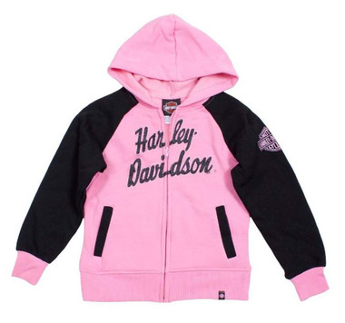 Harley-Davidson Little Girls' HD Fleece Full-Zip Hooded Sweatshirt 0321588 - Wisconsin Harley-Davidson