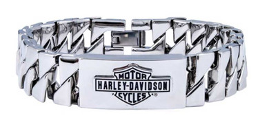Harley-Davidson Men's Long Bar & Shield Steel ID Curb Link Bracelet HSB0142 - Wisconsin Harley-Davidson