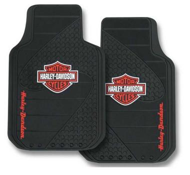 Harley-Davidson Bar & Shield Factory Front Floor Mats Set of 2 Black P1384 - Wisconsin Harley-Davidson