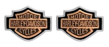 Harley-Davidson Women's Copper Bar & Shield Cameo Post Earrings HDE0261 - Wisconsin Harley-Davidson