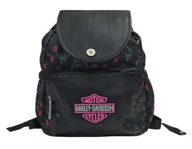 Harley-Davidson Girls' Bar & Shield Cinch Top Flowered Backpack, Black 7130515 - Wisconsin Harley-Davidson