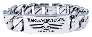 Harley-Davidson Men's Willie G Skull Steel ID Curb Link Bracelet HSB0140 - Wisconsin Harley-Davidson