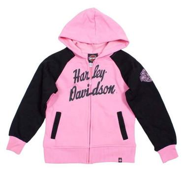 Harley-Davidson Big Girls' H-D Fleece Full Zip Hooded Sweatshirt Pink 0341588 - Wisconsin Harley-Davidson