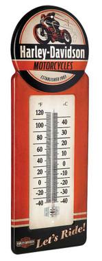 Harley-Davidson Tin Thermometer, Vintage H-D Motorcycle Metal Design HDL-10098 - Wisconsin Harley-Davidson