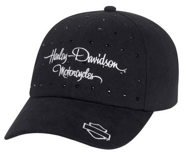 Harley-Davidson Women's  Black Rhinestone Trucker Cap Hat, Black. 99537-16VW - Wisconsin Harley-Davidson