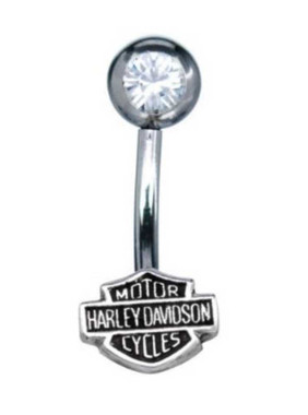 Harley-Davidson Women's White Cubic Zirconia Bar & Shield Belly Jewel HDZ0034 - Wisconsin Harley-Davidson