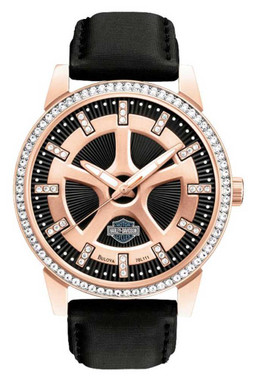 Harley-Davidson Women's Watch, Embellished Crystal Stones, Leather Band 78L111 - Wisconsin Harley-Davidson