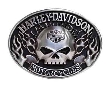 Harley-Davidson Mens Belt Buckle Immunity Flame Willie G Skull Silver HDMBU10409 - Wisconsin Harley-Davidson
