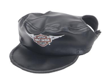 Harley-Davidson Winged Bar & Shield Pet Cap Black Vinyl X-Small. H2500-H-BK1XSM - Wisconsin Harley-Davidson