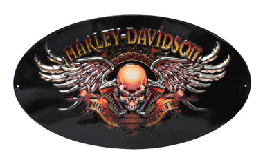 Harley-Davidson Oval Tin Sign, Biker To The Bone Winged Skull, Black 2010441 - Wisconsin Harley-Davidson