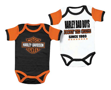 Harley-Davidson Baby Boys' Cradle Creeper Set, 2 Pack, White/Black 3050551 - Wisconsin Harley-Davidson