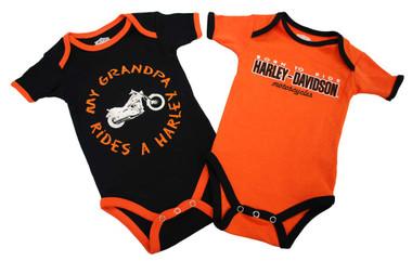 Harley-Davidson Baby Boys' Grandpa Rides A Harley Creeper 2-Pack 1153044 - Wisconsin Harley-Davidson